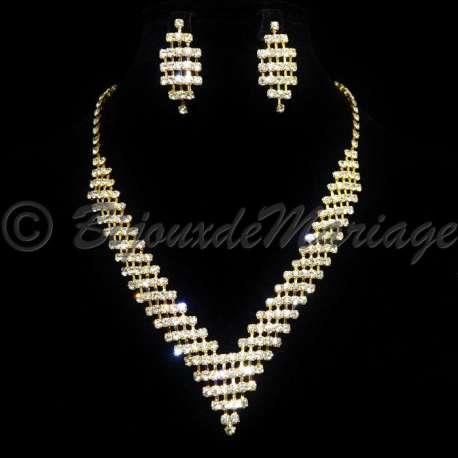 Parure bijoux CASCADE, cristal, structure ton or
