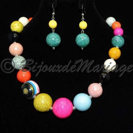 Parure bijoux BULLES multicolores, structure ton argent