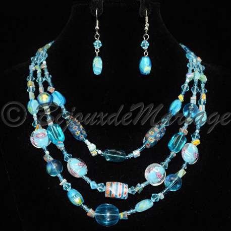 Parure bijoux Albireo, pierres turquoise, structure ton argent