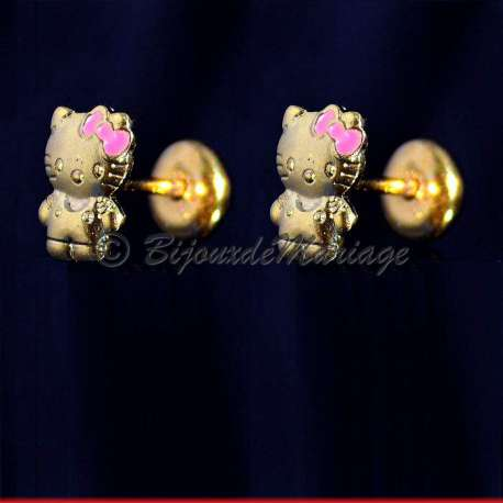 Boucles d'oreilles Kitty, structure doré, fermeture par clips pression