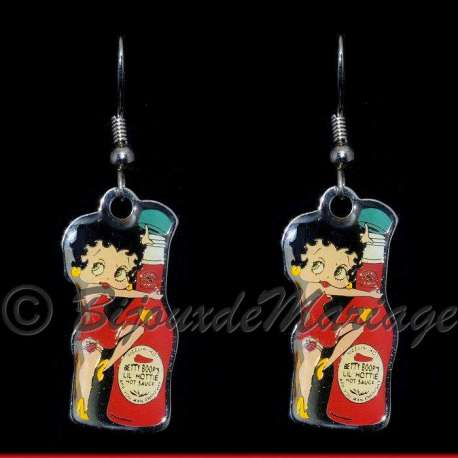 Boucles d'oreilles Betty Boop ketchup, structure ton argent
