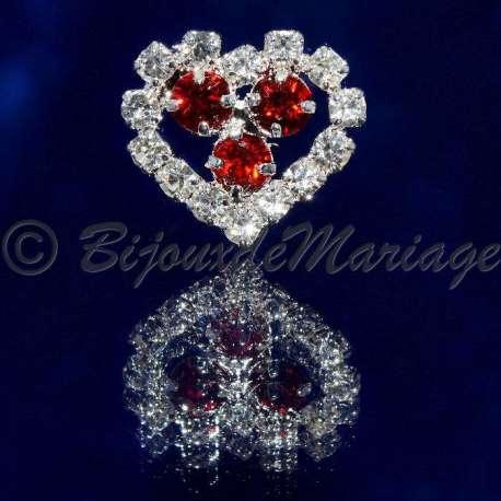 Epingle à cheveux, pic chignon, coeur, cristal rouge siam, ton argent