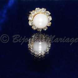 Epingle à cheveux, pic chignon, perle entouré de cristaux, ton or