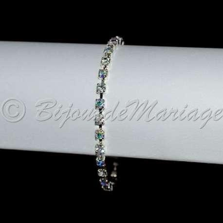 Bracelet mariage 1 rang, ton argent, cristal AB
