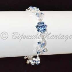 Bracelet mariage Bleuet, ton argent