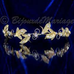 Diadème mariage, Floraison, ton or