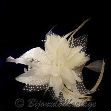 Bracelet mariage Caresse, perles, plumes, ton ivoire