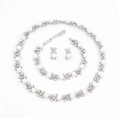 Parure de bijoux mariage, LINA, argentée