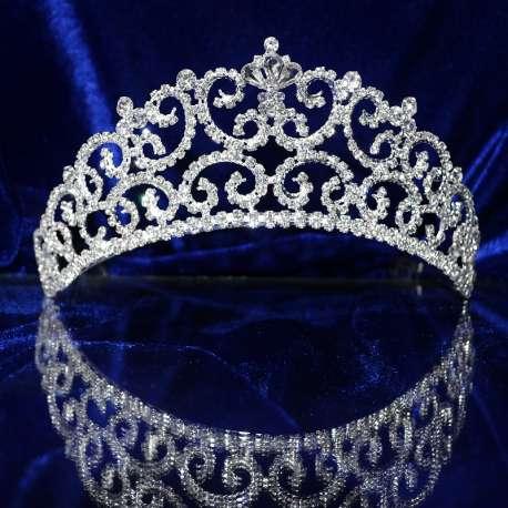 Diademe mariage CAROLINE, cristal, ton argent, hauteur 6 cm