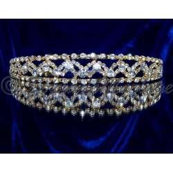 Diadeeme mariage MERVEILLE, cristal, structure ton or