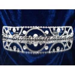 Diademe mariage CHARME, cristal et perles, structure ton argent