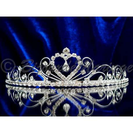 Diademe mariage CHAMADE, cristal, structure ton argent