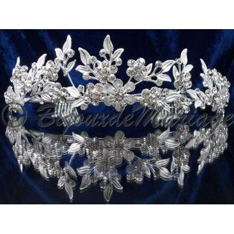 Diademe mariage REINE, cristal, structure ton argent