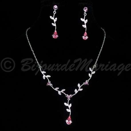 Parure bijoux NEPTUNE, cristal rose tendresse, structure ton argent