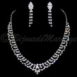 Parure bijoux mariage SISSI, cristal, structure ton argent