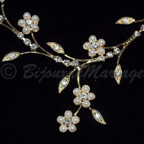 parure de bijoux de mariage fleurs de perles ton or ou argent. Black Bedroom Furniture Sets. Home Design Ideas