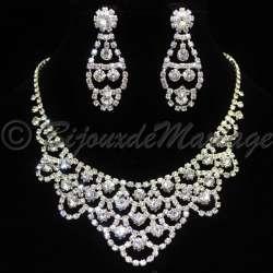 Parure bijoux mariage NEIGE. cristal, structure ton argent